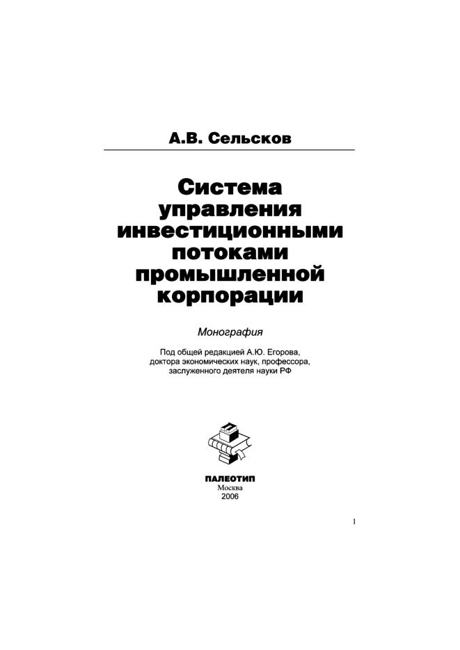 Анатолий Сельсков Система управления инвестиционными потоками промышленной корпорации