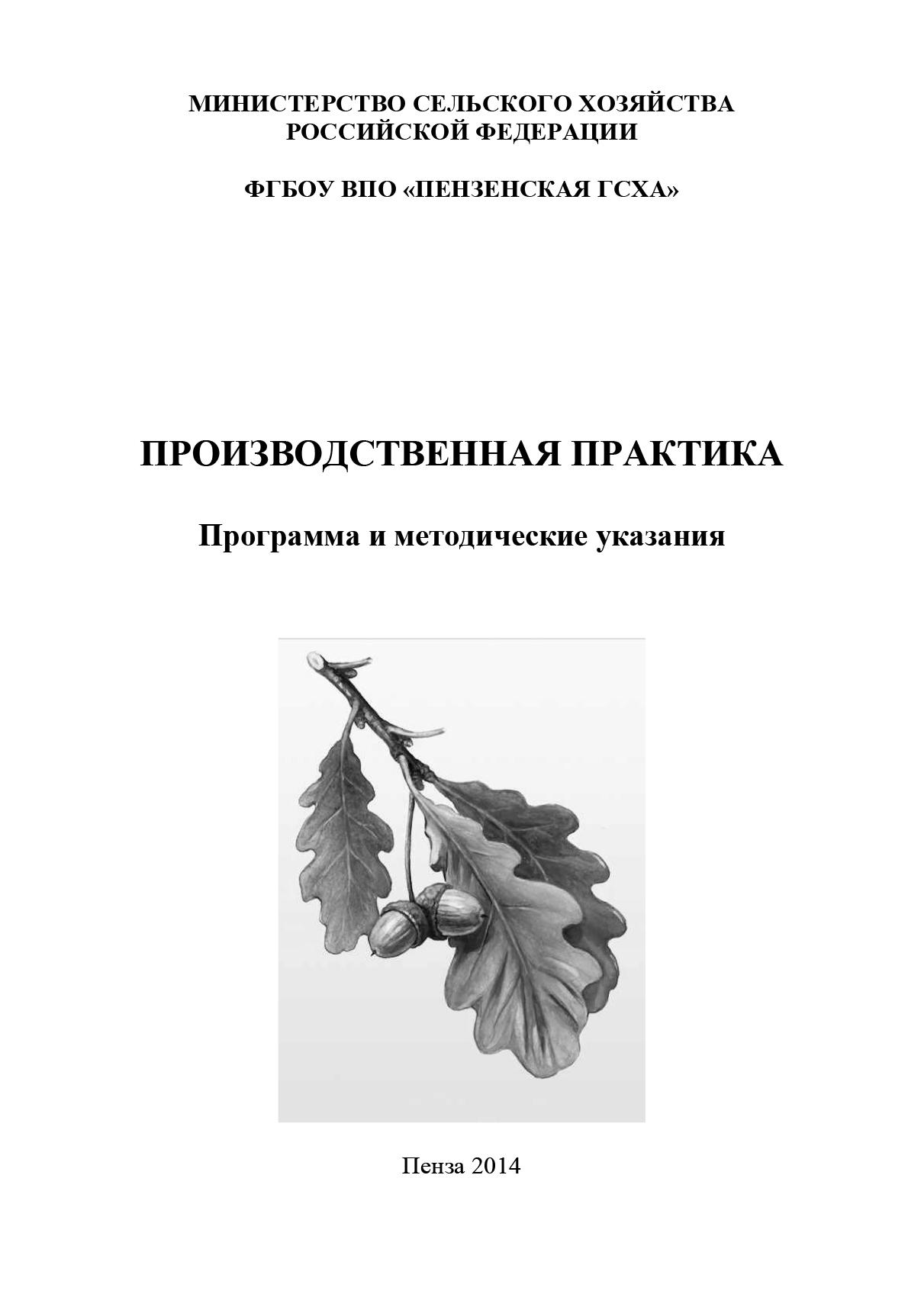 Коллектив авторов Производственная практика. Программа и методические указания а ф лещинская методические указания к прохождению производственной практики