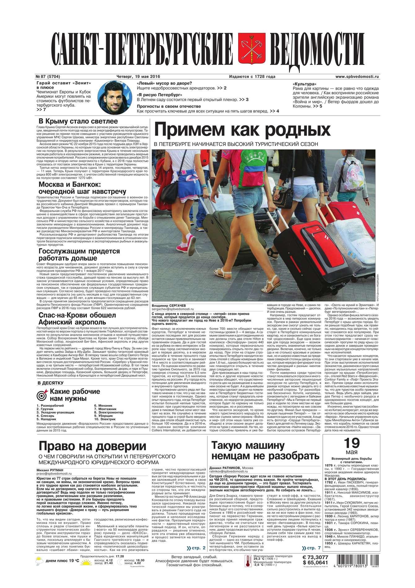 Редакция газеты Санкт-Петербургские ведомости Санкт-Петербургские ведомости 87-2016