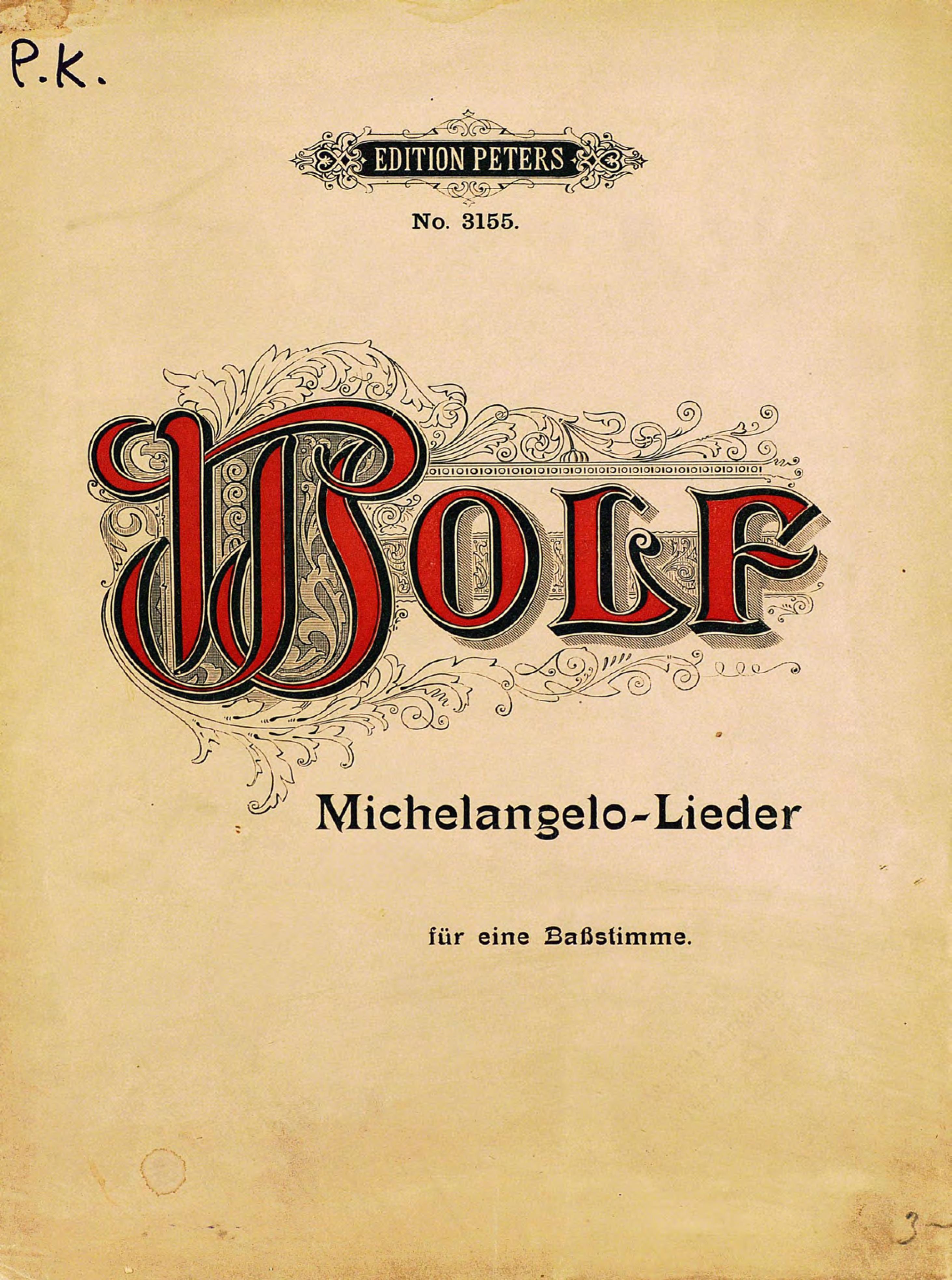 Хуго Вольф 3 Gedichte von Michelangelo fur eine Ba?stimme und Klavier von Hugo Wolf хуго вольф жил был король когда то