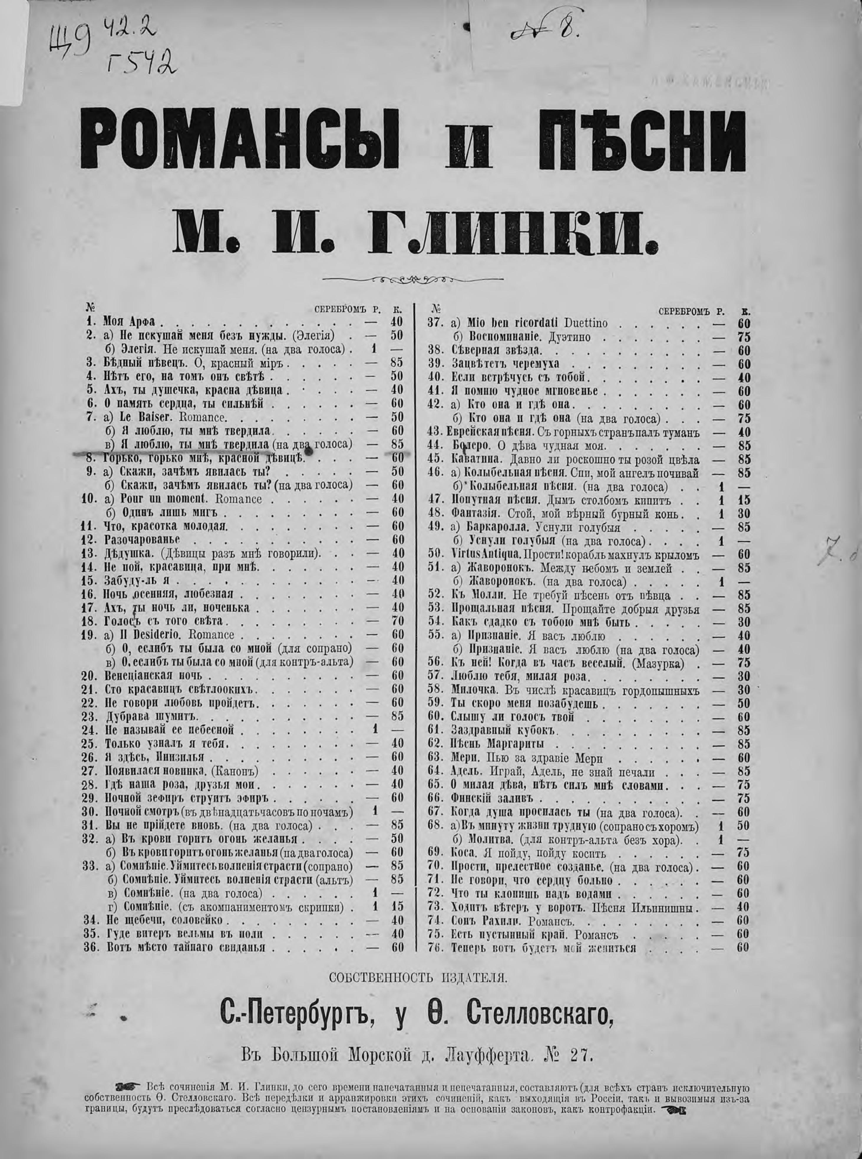 Михаил Иванович Глинка Я люблю, ты мне твердила михаил иванович глинка rousslan et ludmila
