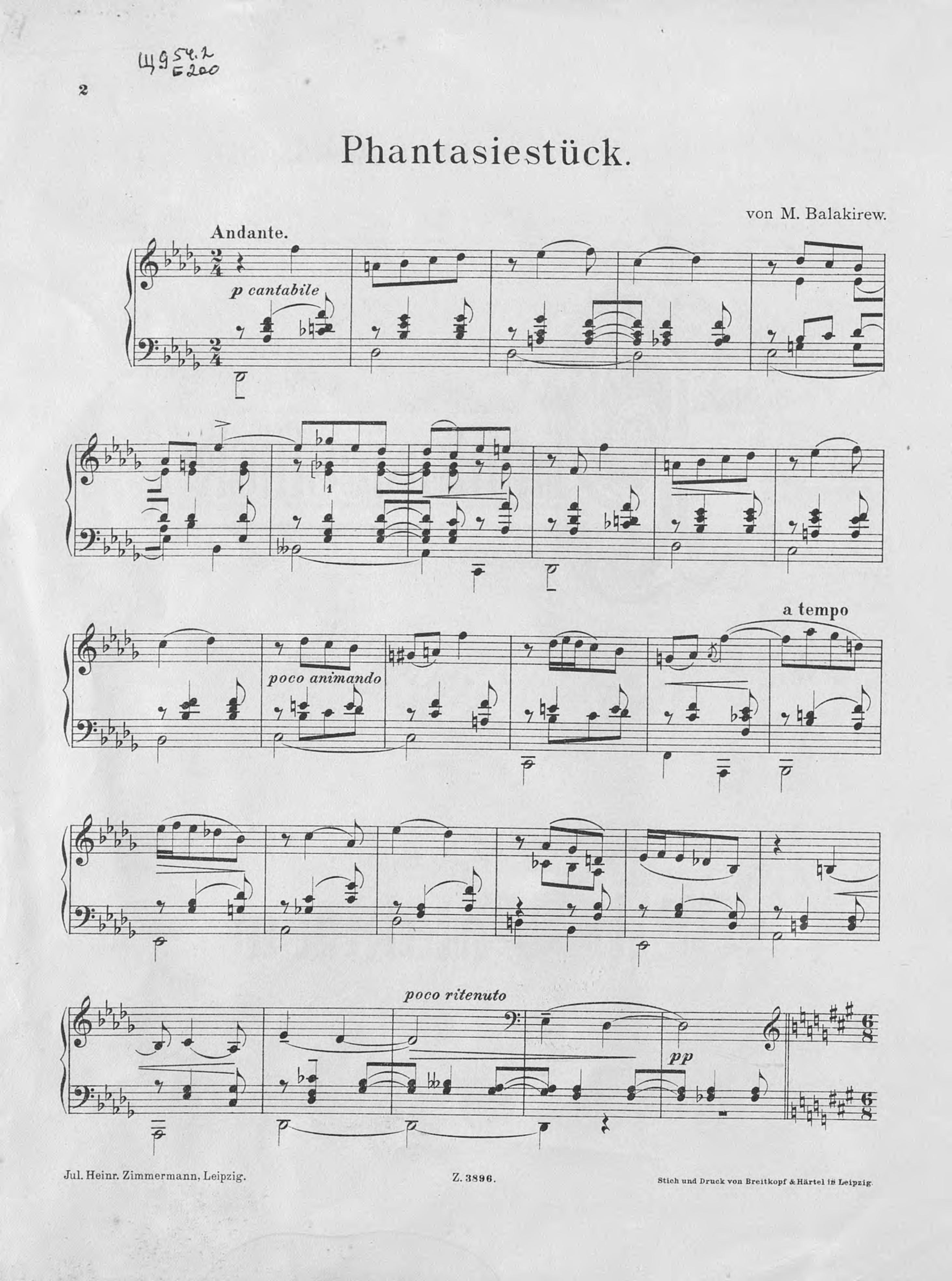 Милий Алексеевич Балакирев Phantasiestuck fur das Klavier g schumann 3 stucke fur klavier op 23