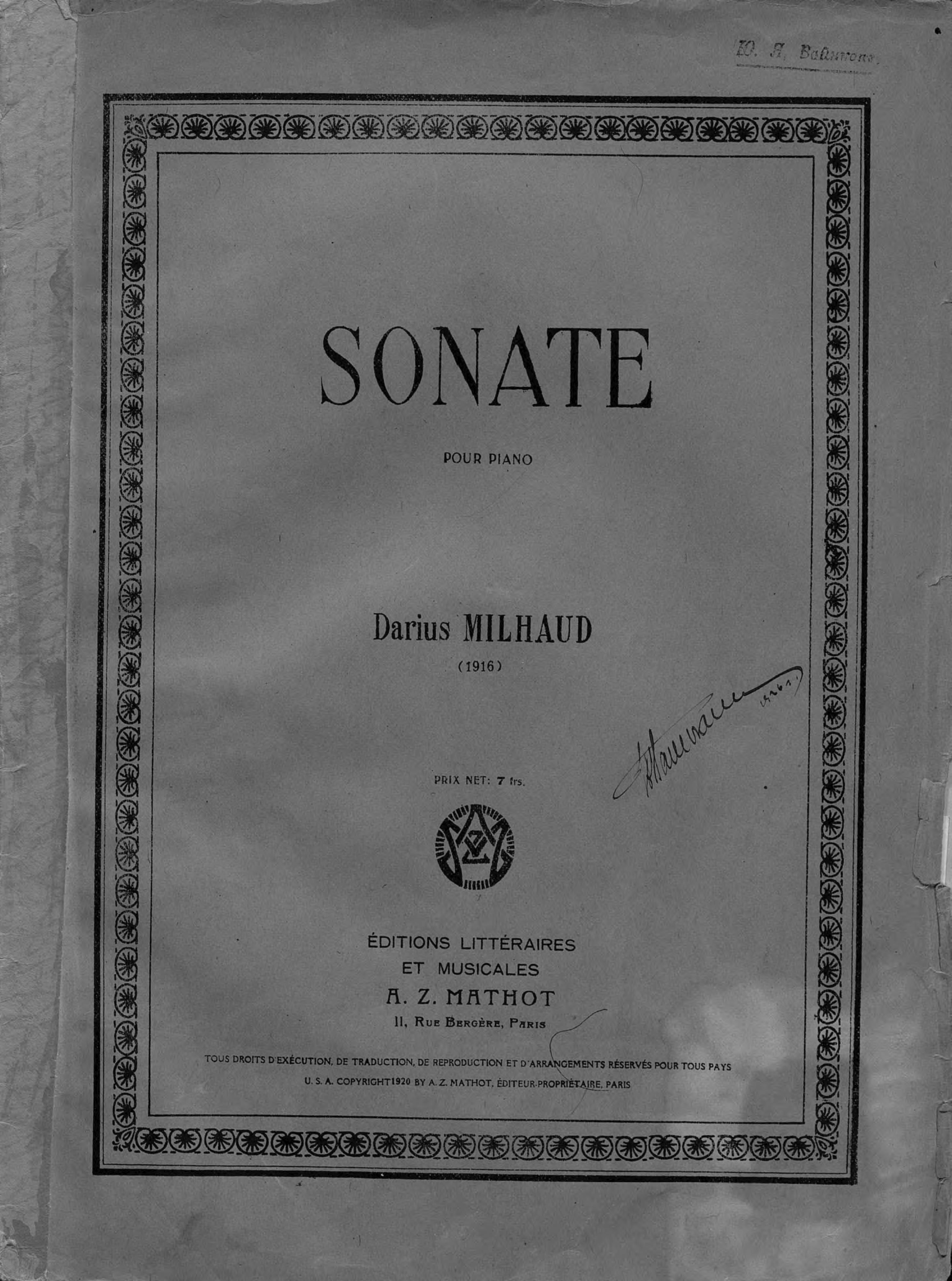 Дариус Мийо Sonate pour Piano