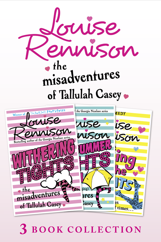 Louise Rennison The Misadventures of Tallulah Casey 3-Book Collection: Withering Tights, A Midsummer Tights Dream and A Taming of the Tights two tone striped tights