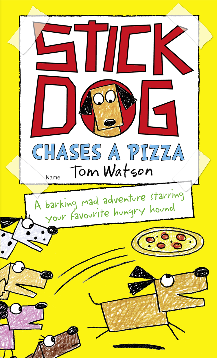 Tom Watson Stick Dog Chases a Pizza hot dog pizza round beach throw