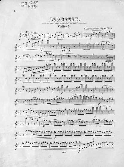 Иоганнес Брамс Quartette Ор. 51, № 1 fur 2 Violinen, Bratsche und Violoncell и брамс 9 песен ор 69